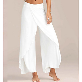 cheap -Women's Sporty Loose Weekend Culottes Wide Leg Pants Solid Colored Layered Split Wine Army Green White Black Dark Gray