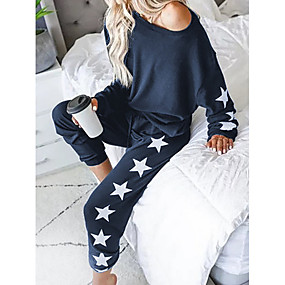 cheap -Women's Basic Geometric Causal Daily Two Piece Set Tracksuit Set Pant Loungewear Jogger Pants Tops