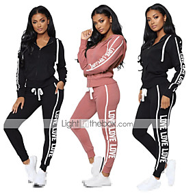 cheap -Women's 2-Piece Full Zip Tracksuit Sweatsuit Street Athleisure Long Sleeve Breathable Moisture Wicking Soft Fitness Gym Workout Running Active Training Jogging Sportswear Outfit Set Clothing Suit