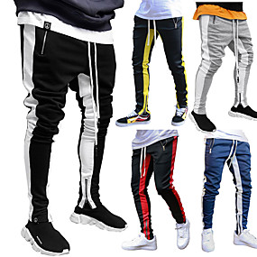 cheap -JACK CORDEE Men's Sweatpants Joggers Jogger Pants Street Trousers Bottoms Stripe Ankle Zippers Drawstring Winter Fitness Gym Workout Running Active Training Jogging Breathable Soft Sport Black / Red