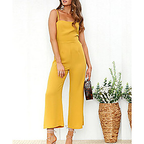 cheap -Women's Basic Strap Black Red Yellow Slim Jumpsuit Solid Colored / Wide Leg