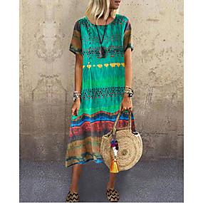 preiswerte -Damen A-Linie Kleid Knielanges Kleid Kurzarm Druck Sommer Freizeit mumu 2021 Blau Rote Gelb Grün S M L XL XXL 3XL 4XL 5XL