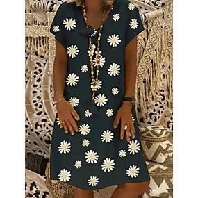 cheap -Women's Shift Dress Knee Length Dress Yellow Khaki Green Black Short Sleeve Daisy Floral Print Summer V Neck Hot Casual 2021 S M L XL XXL 3XL 4XL / Plus Size / Plus Size