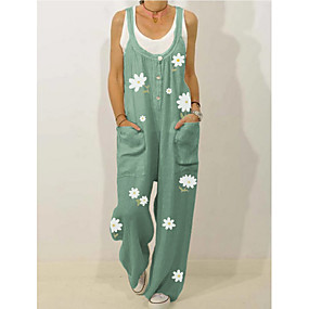 abordables -Combinaison-pantalon Femme Fleurie Noir Vert Beige Bleu clair M L XL XXL 3XL 4XL 5XL