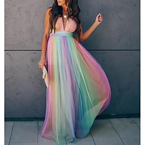 cheap -Women's Swing Dress Maxi long Dress Rainbow Sleeveless Rainbow Striped Color Block Backless Patchwork Summer Deep V Hot Elegant Vacation Slim 2021 S M L XL XXL / Chiffon