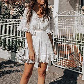cheap -Women's Lace Short Mini Dress White Half Sleeve Solid Color Summer V Neck Elegant 2021 S M L XL