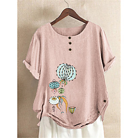 cheap -Women's Blouse Shirt Floral Pattern Flower Button Print Round Neck Tops Loose Cotton Basic Basic Top Blushing Pink Green