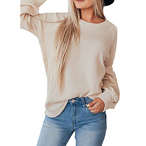 cheap -Women's Blouse Shirt Solid Colored Long Sleeve Round Neck Tops Lantern Sleeve Loose Basic Basic Top Navy Blue Beige