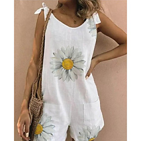 cheap -Women's White Yellow Green Romper Floral Color Block