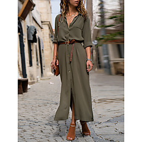 cheap -Women's Shirt Dress Maxi long Dress Black Army Green Navy Blue Long Sleeve Solid Color Fall Summer Shirt Collar Work Hot Formal vacation dresses 2021 S M L XL
