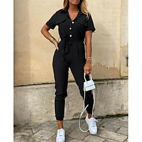 abordables -Combinaison-pantalon Femme Rayé Couleur Pleine Blanche Vert Véronèse Noir Arc-en-ciel Beige S M L XL