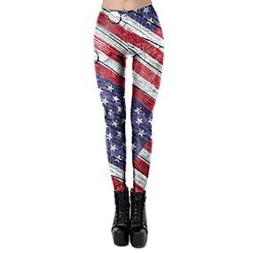 cheap -Women's Sporty Comfort Sports Gym Yoga Leggings Pants Patterned National Flag Full Length Print White Black Blue Red Wine