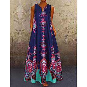 cheap -Women's A Line Dress Maxi long Dress Blue Yellow White Black Light Blue Sleeveless Pocket Print Spring & Summer V Neck Hot Casual Boho Holiday 2021 S M L XL XXL 3XL 4XL 5XL