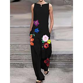 abordables -Combinaison-pantalon Femme Fleurie Noir S M L XL XXL 3XL