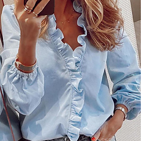 cheap -Women's Blouse Shirt Solid Colored Long Sleeve V Neck Tops Loose Basic Top White Blue Orange