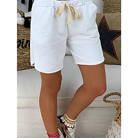 cheap -Women's Basic Cotton Loose Shorts Pants Solid Colored White Black Khaki
