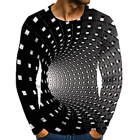 preiswerte -Herren T-Shirt Grafik 3D-Druck Übergrössen Druck Langarm Alltag Oberteile Street Schick Übertrieben Regenbogen