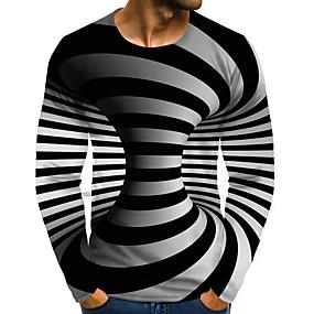 preiswerte -Herren T-Shirt 3D-Druck Grafik 3D-Druck Übergrössen Druck Langarm Alltag Oberteile Street Schick Übertrieben Regenbogen