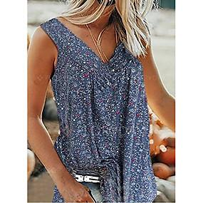 cheap -Women's Blouse Shirt Pattern Graphic Print V Neck Tops Basic Top White Black Blue