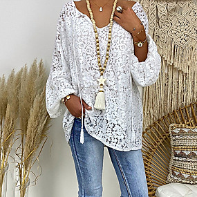 cheap -Women's Plus Size Blouse Shirt Floral Flower Long Sleeve Lace Hollow Out V Neck Tops Loose Lace Casual Basic Top White