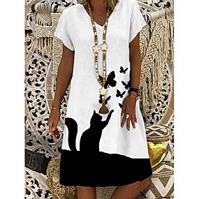 cheap -Women's Shift Dress Knee Length Dress White Short Sleeve Butterfly Cat Animal Summer V Neck Casual 2021 M L XL XXL 3XL