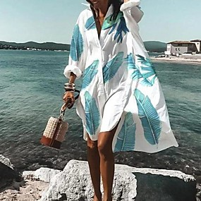 cheap -Women's Shirt Dress Knee Length Dress - Long Sleeve Geometric Print Summer Fall V Neck Hot Casual Loose 2020 White Purple Red Fuchsia Orange Rainbow Light Blue S M L XL XXL 3XL