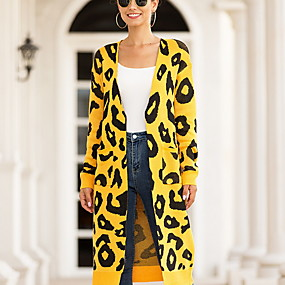 cheap -Women's Leopard Cheetah Print Cardigan Cotton Long Sleeve Loose Sweater Cardigans Halter Neck Fall Black Red Yellow