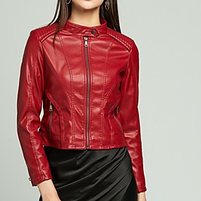 cheap -Women's Stand Collar Faux Leather Jacket Regular Solid Colored Daily Black Red Yellow Blushing Pink S M L XL