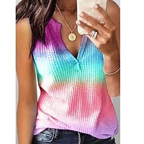 cheap -Women's Going out T-shirt Tie Dye V Neck Tops Basic Top Blue Purple Red