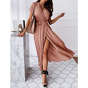 cheap -Women's Wrap Dress Maxi long Dress Blue Blushing Pink Dark Green Gray Black Short Sleeve Polka Dot Split Print Spring Summer V Neck Hot Casual Sexy 2021 S M L XL XXL 3XL