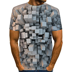 preiswerte -Herren T-Shirt Grafik Übergrössen Druck Kurzarm Alltag Oberteile Grundlegend Übertrieben Schwarz Blau Rote