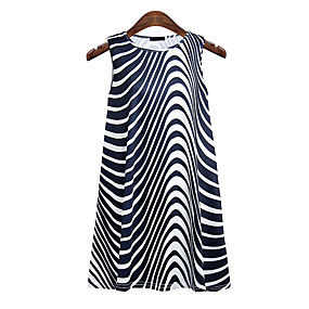 cheap -Women's Holiday Tank Top Striped Round Neck Tops Beach Basic Top White