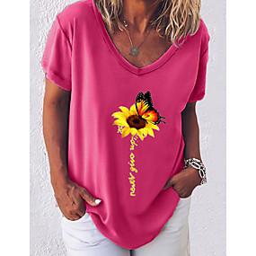 cheap -Women's T-shirt Graphic V Neck Tops Cotton Basic Top White Black Blue