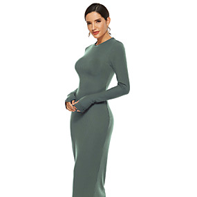 cheap -Women's Sheath Dress Maxi long Dress Black Army Green Navy Blue Long Sleeve Solid Color Fall Spring Round Neck Hot Elegant Casual 2021 S M L XL