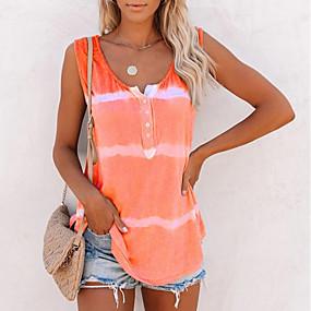 cheap -Women's Tank Top Striped Round Neck Tops Loose Cotton Basic Top Purple Blushing Pink Orange
