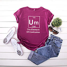 cheap -Women's T-shirt Letter Print Round Neck Tops 100% Cotton Basic Basic Top Black Wine Army Green