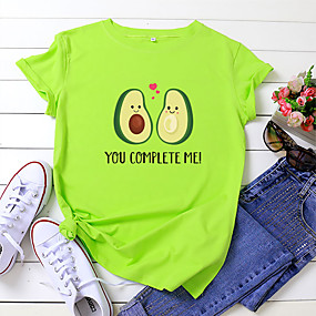 cheap -Women's T-shirt Letter Fruit Print Round Neck Tops 100% Cotton Basic Basic Top White Yellow Blushing Pink