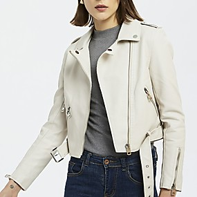 cheap -Women's Notch lapel collar Faux Leather Jacket Regular Solid Colored Daily White Black S M L / Slim