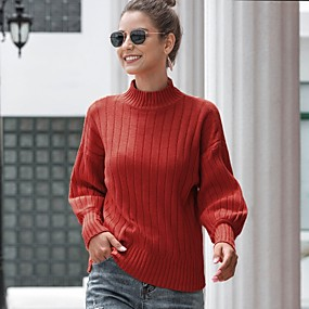 cheap -Women's Solid Colored Pullover Long Sleeve Sweater Cardigans Turtleneck Winter White Red Yellow