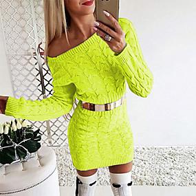 cheap -Women's Sweater Jumper Dress Short Mini Dress - Long Sleeve Solid Color Knitted Fall Winter Off Shoulder Hot Sexy Slim 2020 Green S M L XL
