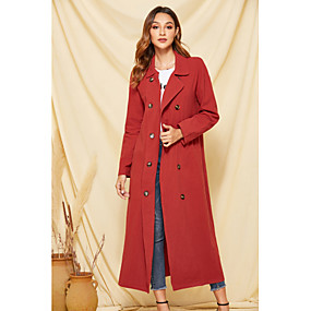 cheap -Women's Fall & Winter Trench Coat Long Solid Colored Daily Red S M L XL