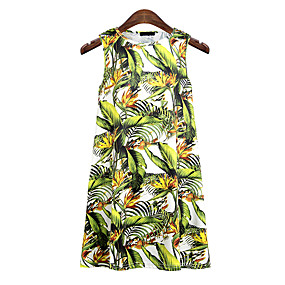 cheap -Women's Holiday Tank Top Floral Flower Round Neck Tops Beach Basic Top Green