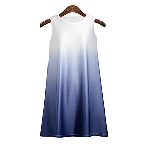 cheap -Women's Holiday Tank Top Color Gradient Round Neck Tops Beach Basic Top White