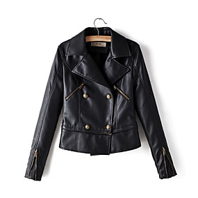 cheap -Women's Solid Colored Spring &  Fall Faux Leather Jacket Short Daily Long Sleeve PU Coat Tops Black