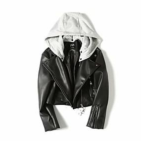 cheap -Women's Faux Leather Jacket Short Color Block Daily Black XS S M L