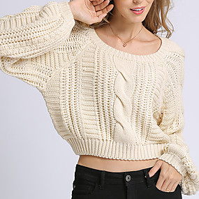 cheap -Women's Solid Colored Pullover Long Sleeve Loose Sweater Cardigans Crew Neck Round Neck Fall Beige