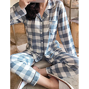 preiswerte -Damen Hemdkragen Anzüge Pyjamas Verziert