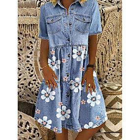 cheap -Women's Denim Shirt Dress Knee Length Dress Blue Short Sleeve Floral Pocket Button Summer Shirt Collar Chic & Modern Casual 2021 M L XL XXL 3XL