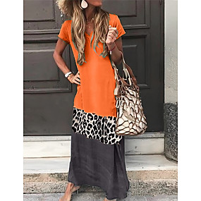 cheap -Women's Shift Dress Maxi long Dress Black Orange Green Gray Short Sleeve Leopard Color Block Summer V Neck Hot Casual Vacation 2021 S M L XL XXL 3XL 4XL 5XL
