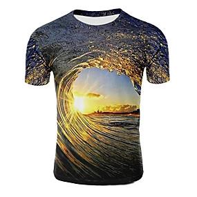 preiswerte -Herren T-Shirt Galaxis Grafik 3D Übergrössen Druck Kurzarm Normal Oberteile Violett Leicht Braun Dunkelgrün